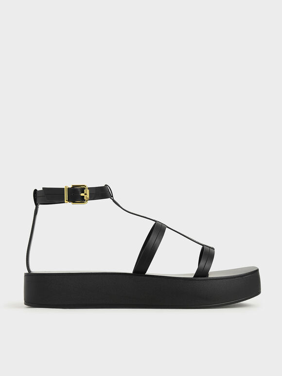T-Bar Flatform Sandals, Black, hi-res
