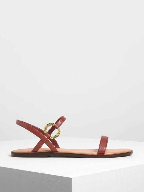 Gold Buckle Detail Sandals, Dark Brown, hi-res