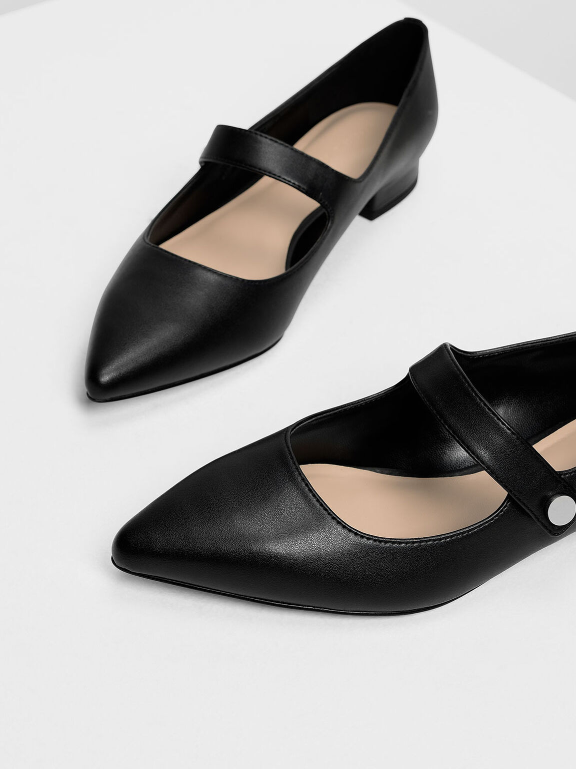 Pointed Toe Mary Janes, Black, hi-res