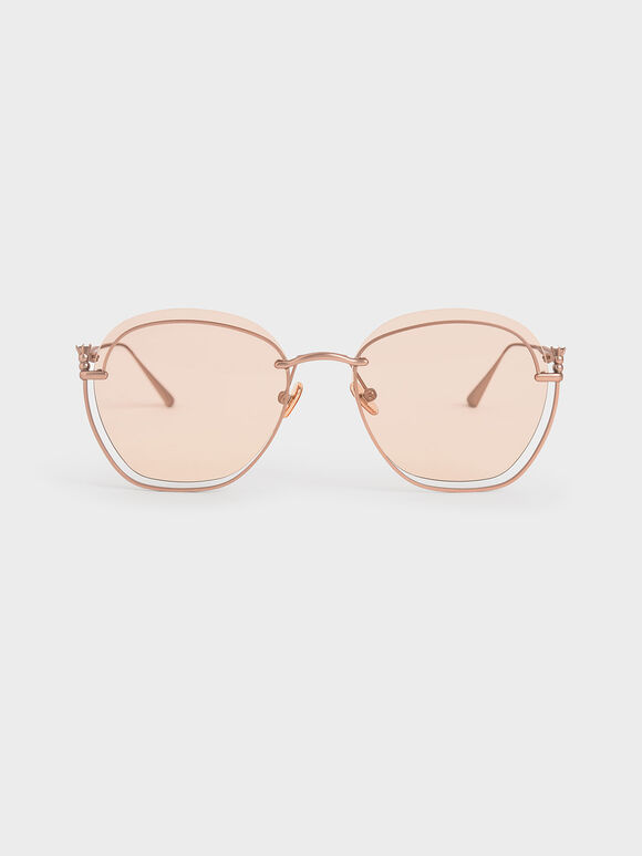 Cut-Out Butterfly Sunglasses, Pink, hi-res