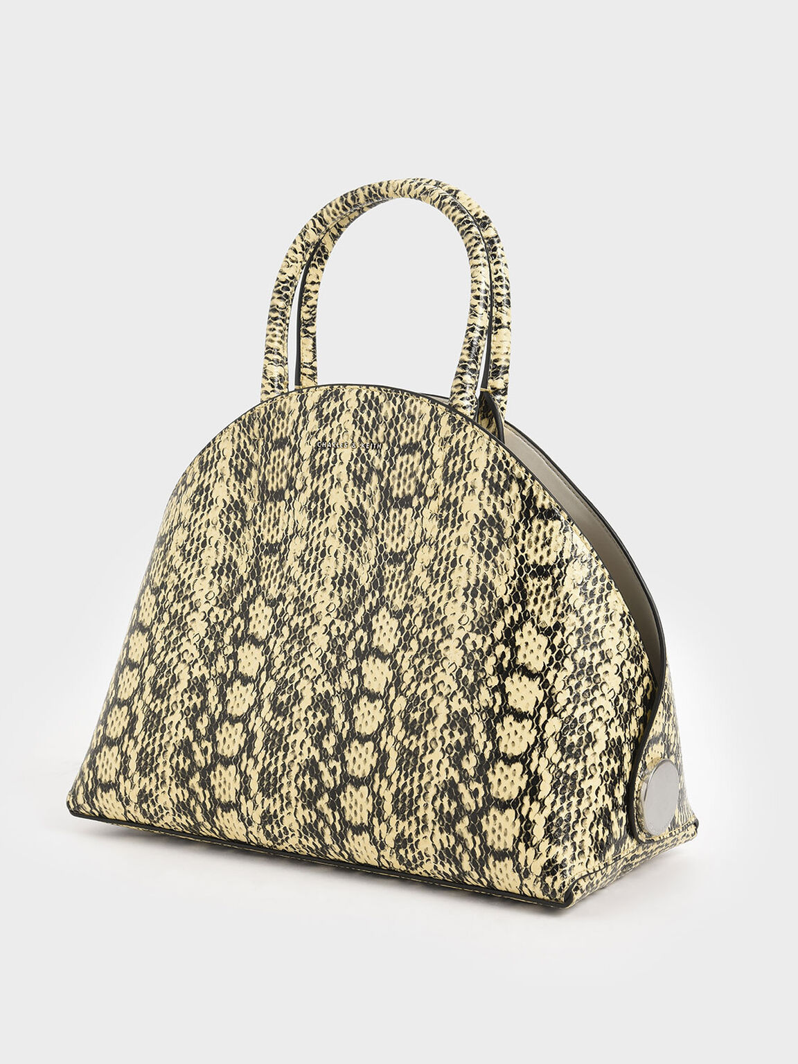 Large Snake Print Dome Bag, Yellow, hi-res