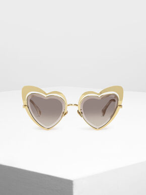 Heart-Shaped Sunglasses, Gold