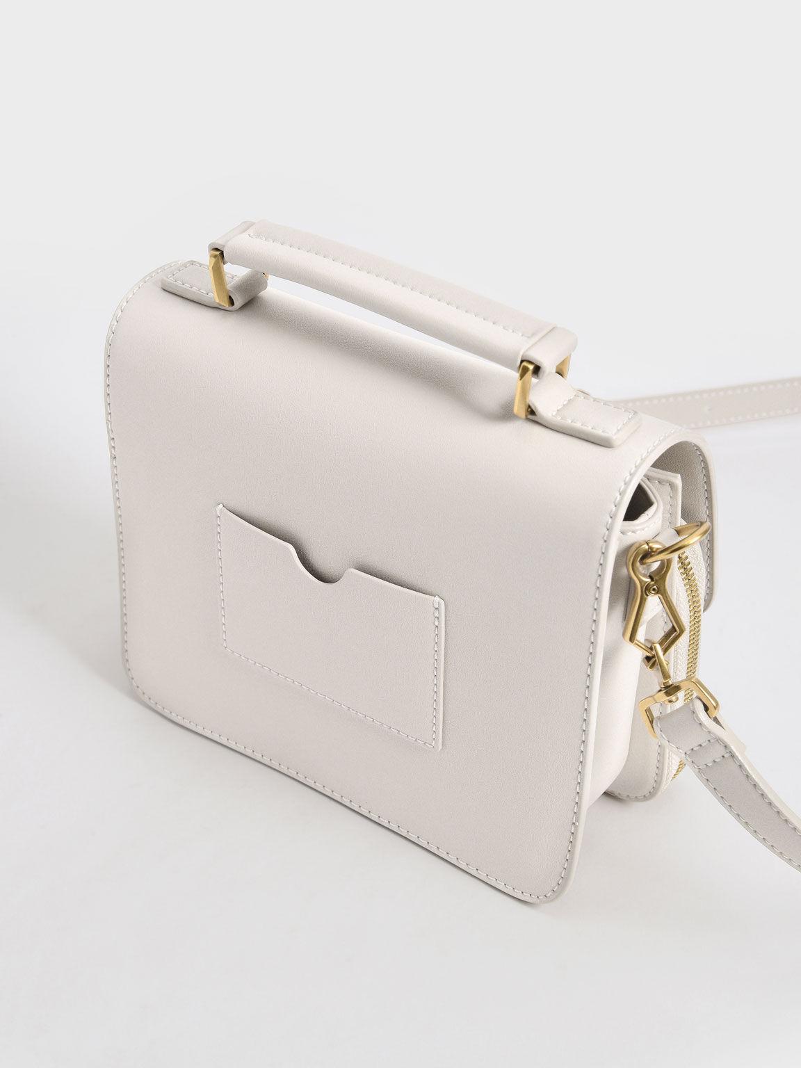 Front Flap Top Handle Crossbody Bag, Ivory, hi-res