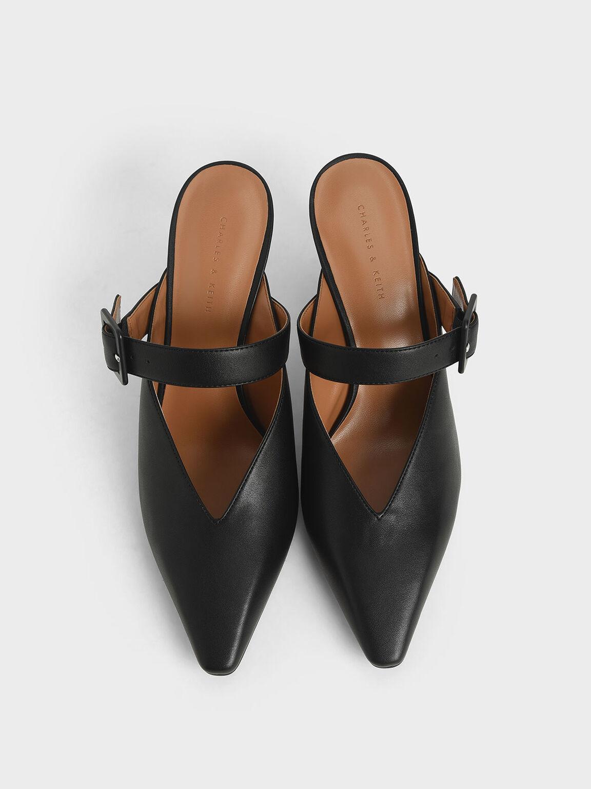 Mary Jane Strap Stiletto Mules, Black, hi-res