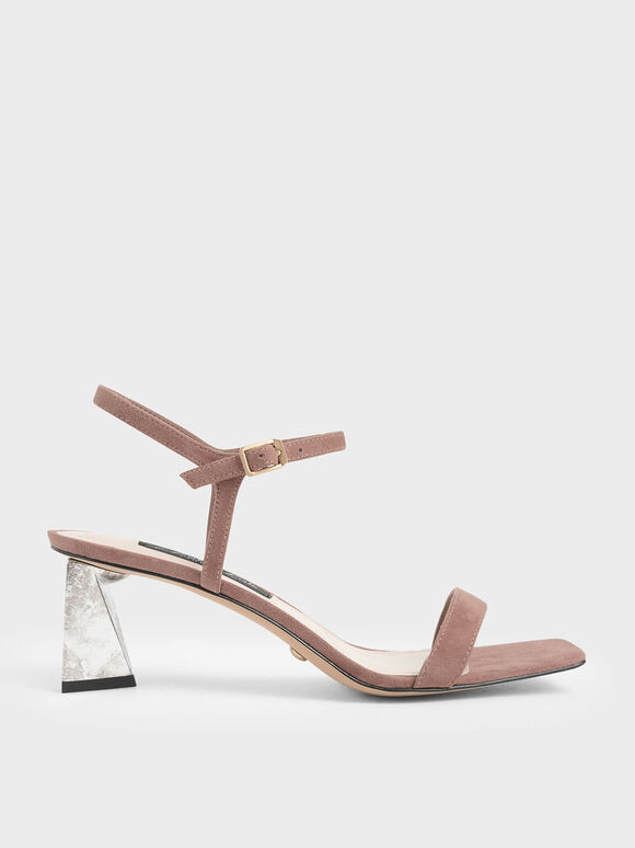 Chrome Heel Sandals (Kid Suede), Brick, hi-res