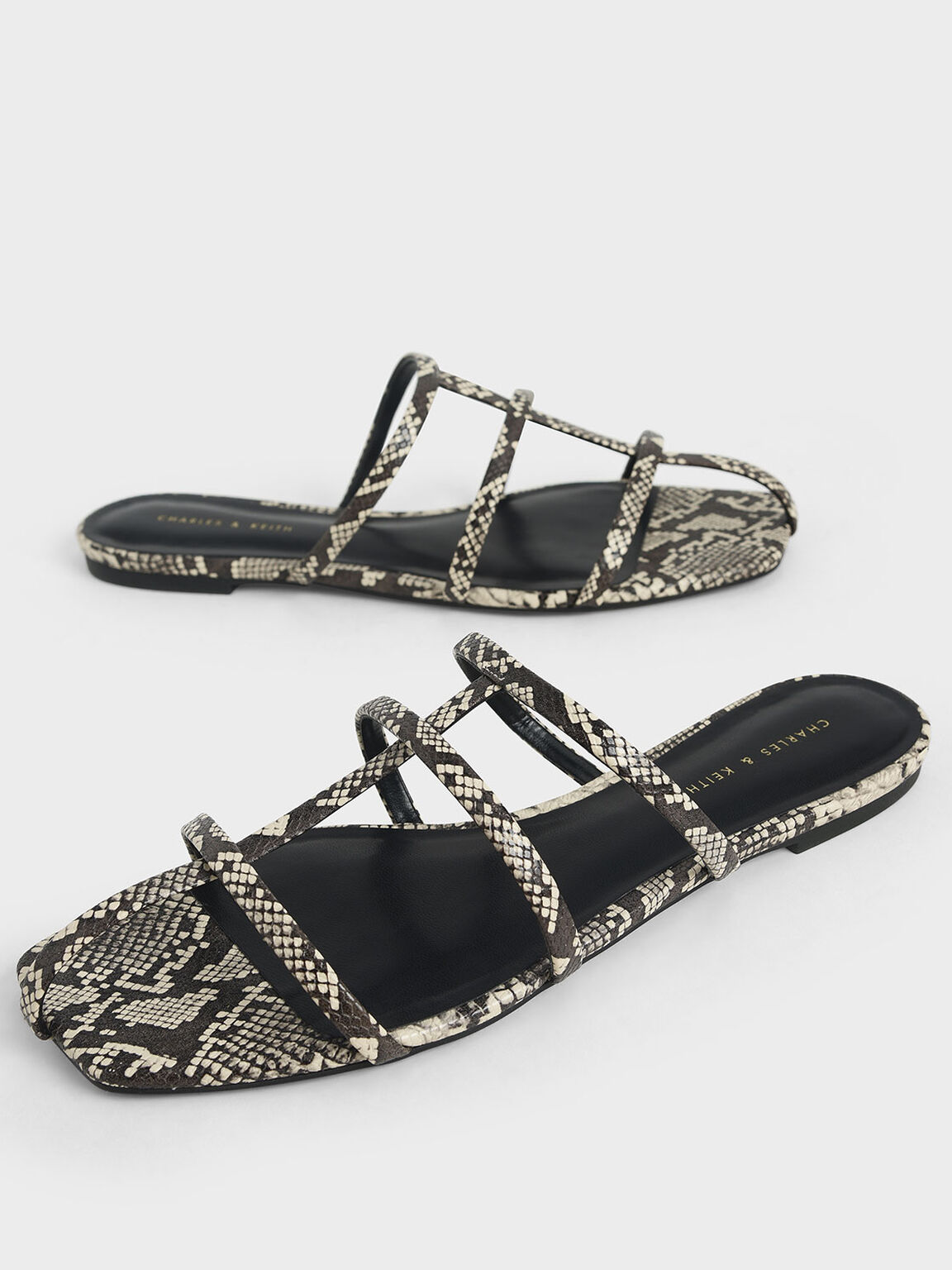 Snake Print Strappy Caged Flat Sandals, Multi, hi-res