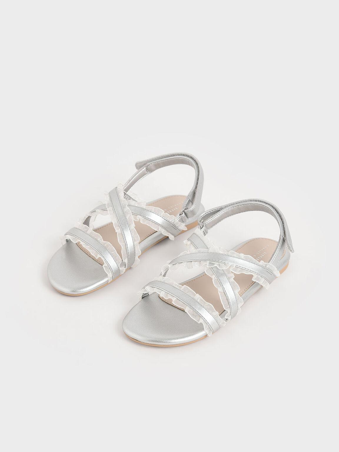 Girls' Metallic Frill-Trim Flat Sandals, Silver, hi-res