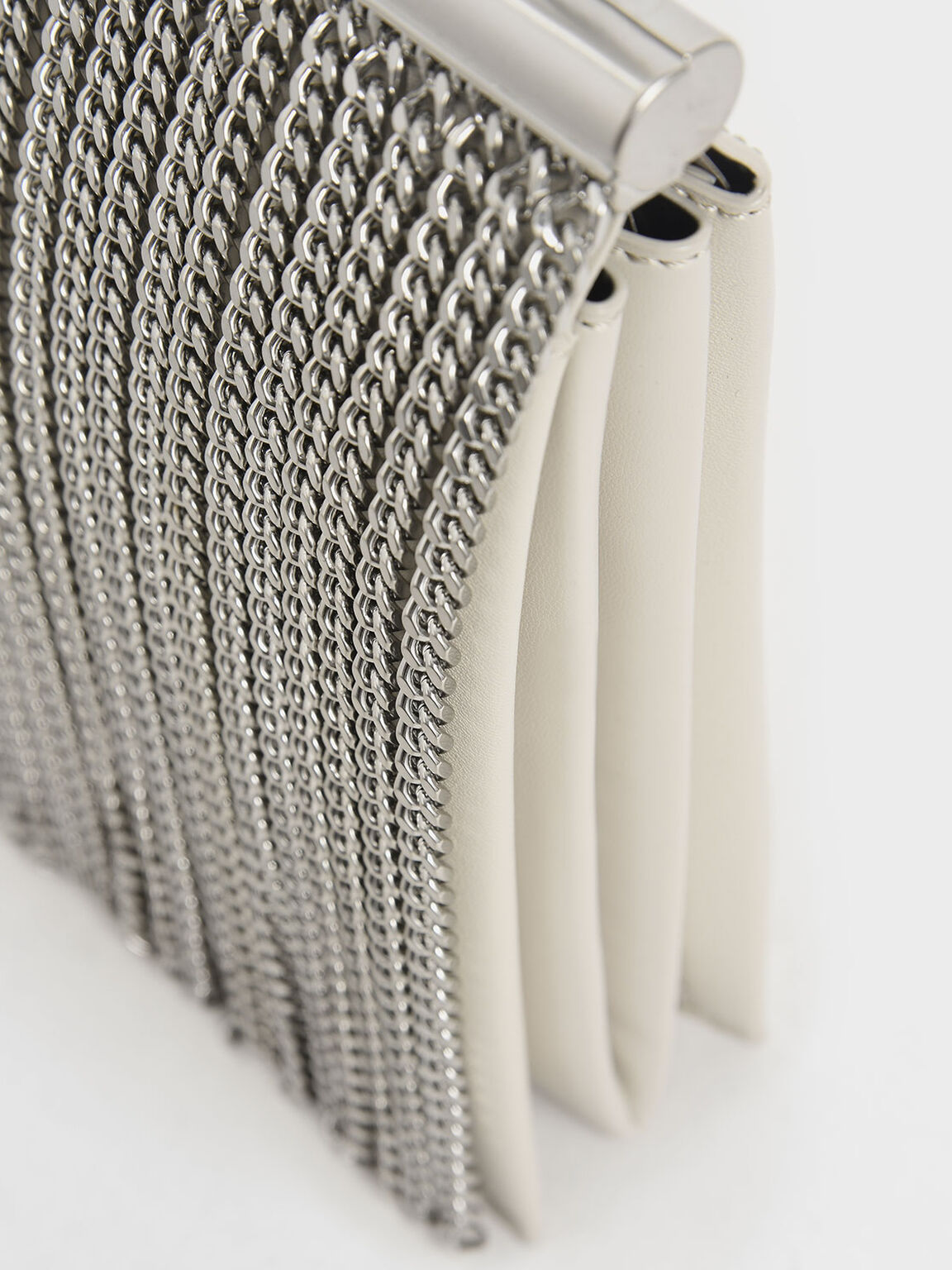 Chain Fringe Elongated Clutch, Cream, hi-res