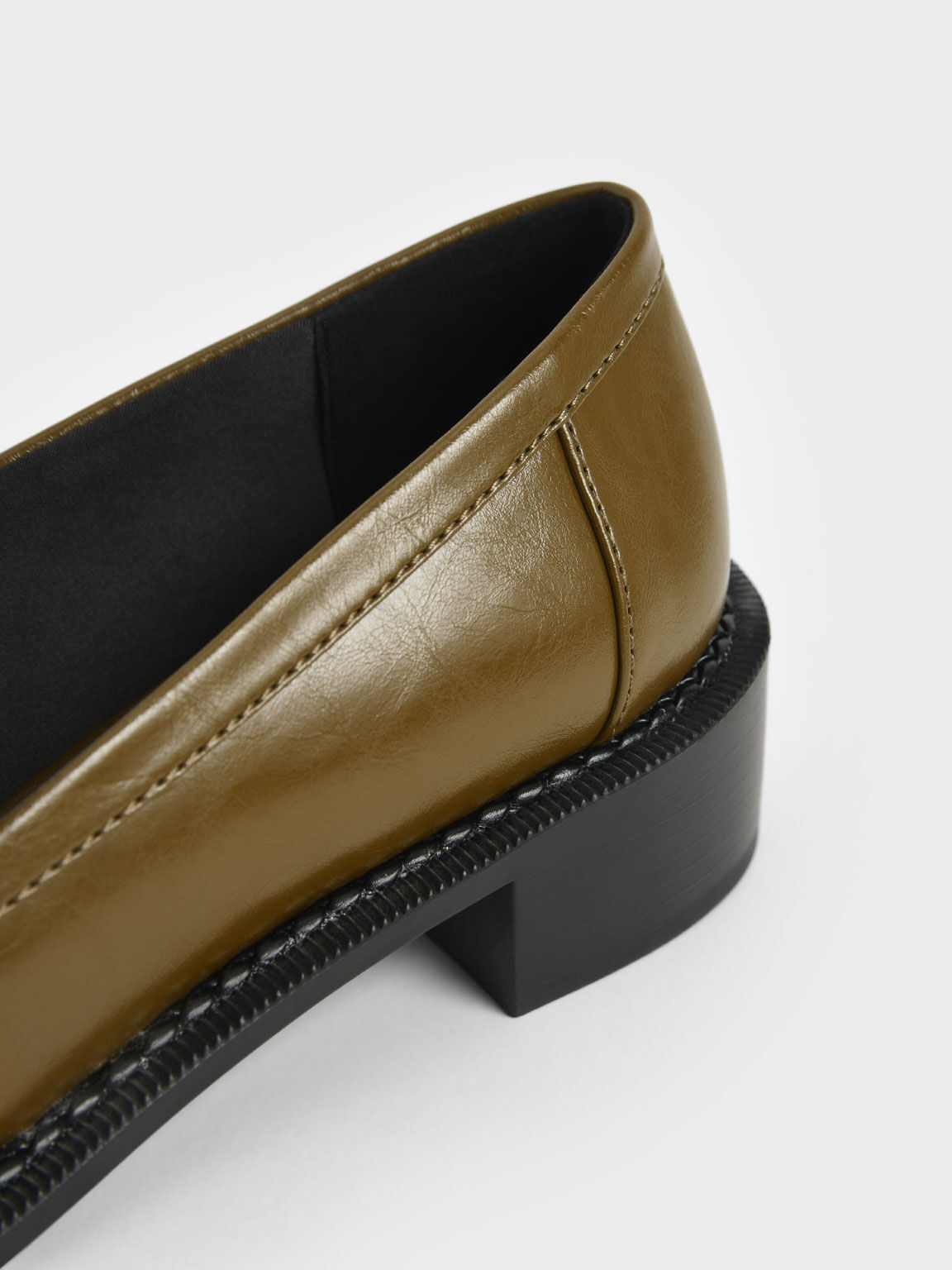 Chunky Chain Link Loafers, Olive, hi-res
