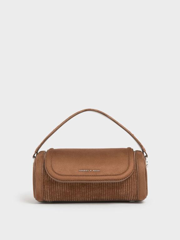 Corduroy Mini Duffle Bag, Mustard