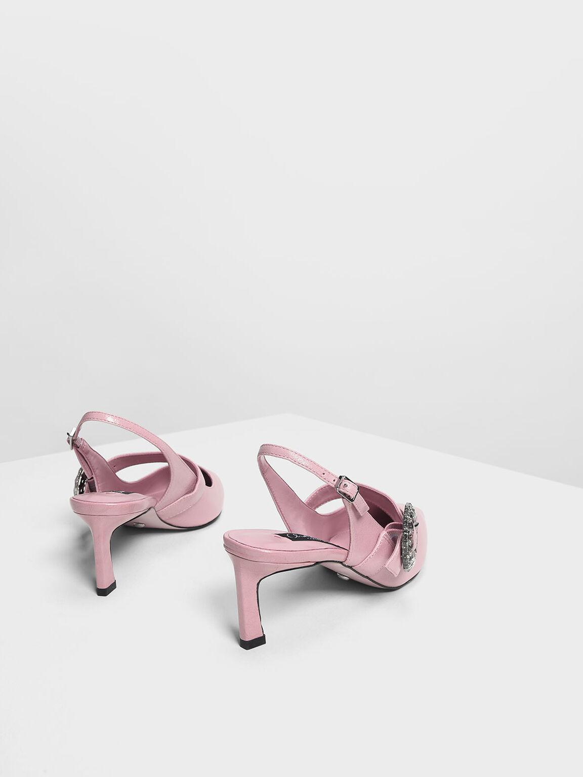 圓扣環真皮跟鞋, 粉紅色, hi-res