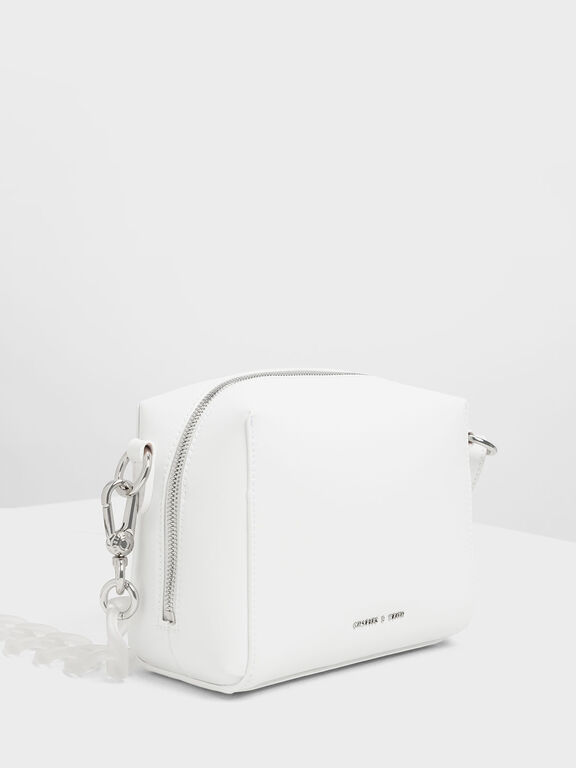 Bubble Detail Crossbody Bag, White