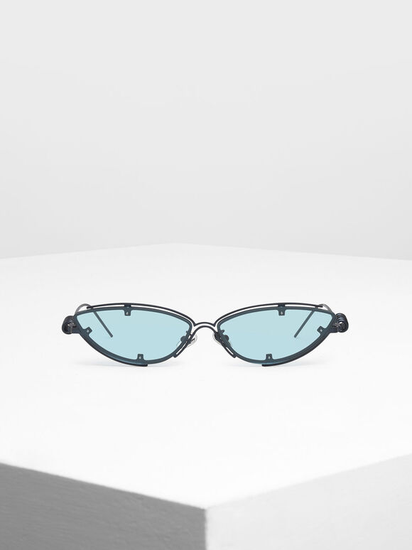Double Frame Cat-Eye Sunglasses, Blue, hi-res