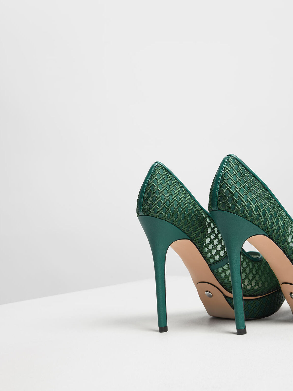 Mesh Platform Pumps, Green, hi-res