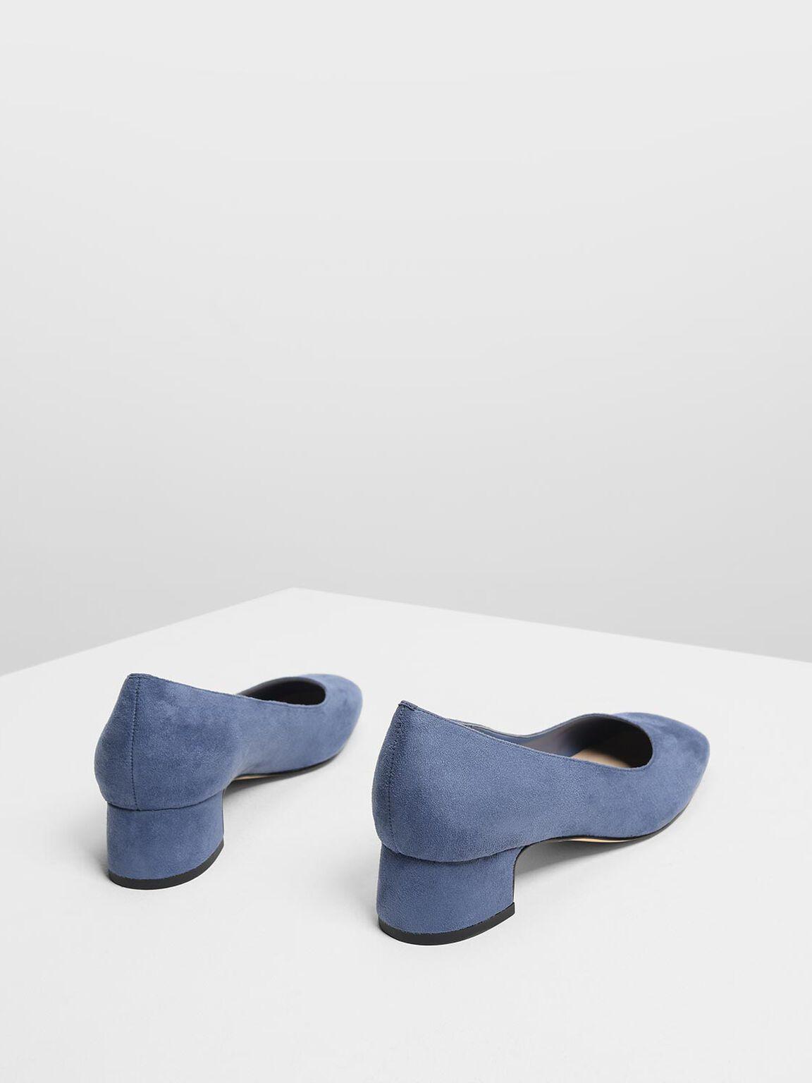 Covered Block Heel Pumps, Dark Blue, hi-res