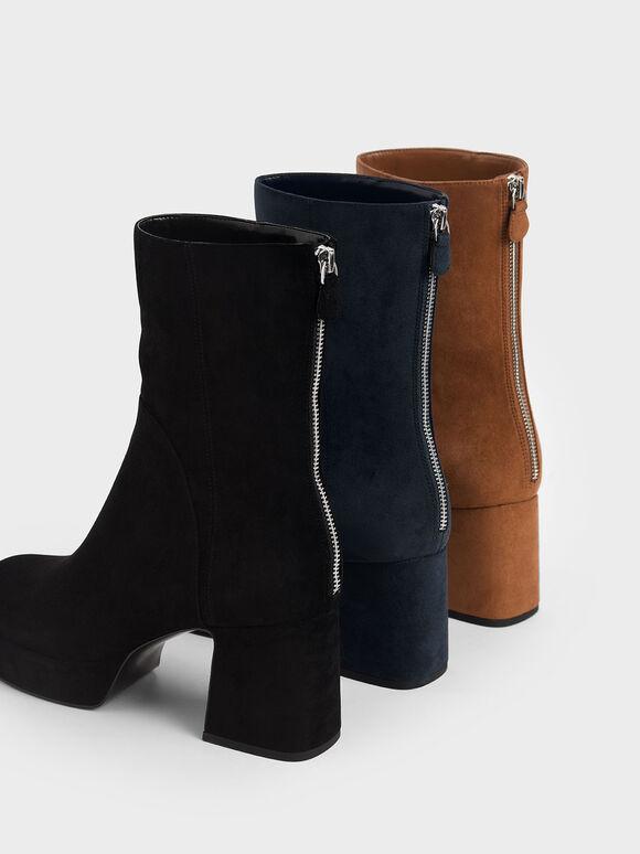 方頭厚底短靴, 黑色, hi-res