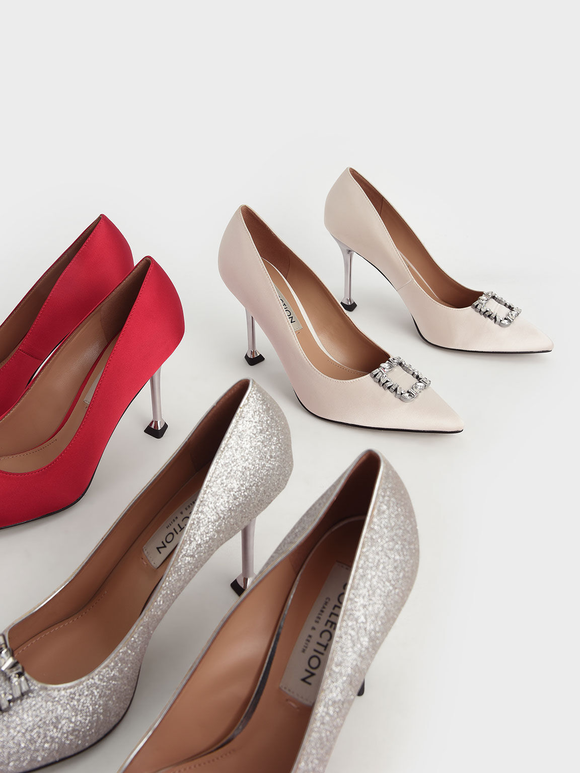 Wedding Collection: Satin Gem-Embellished Pumps, Cream, hi-res