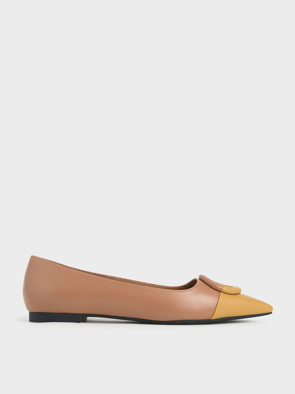Mismatched Ballerina Flats, Yellow, hi-res