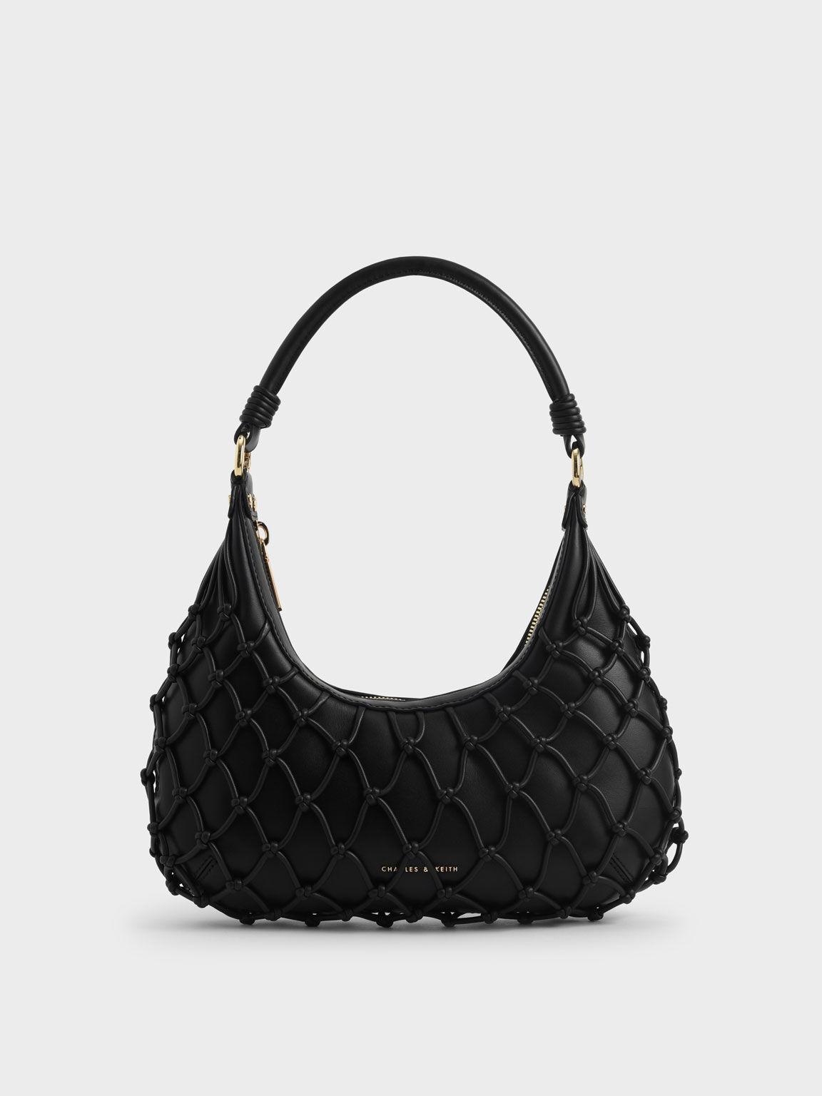 Netted Leather Shoulder Bag, Black, hi-res
