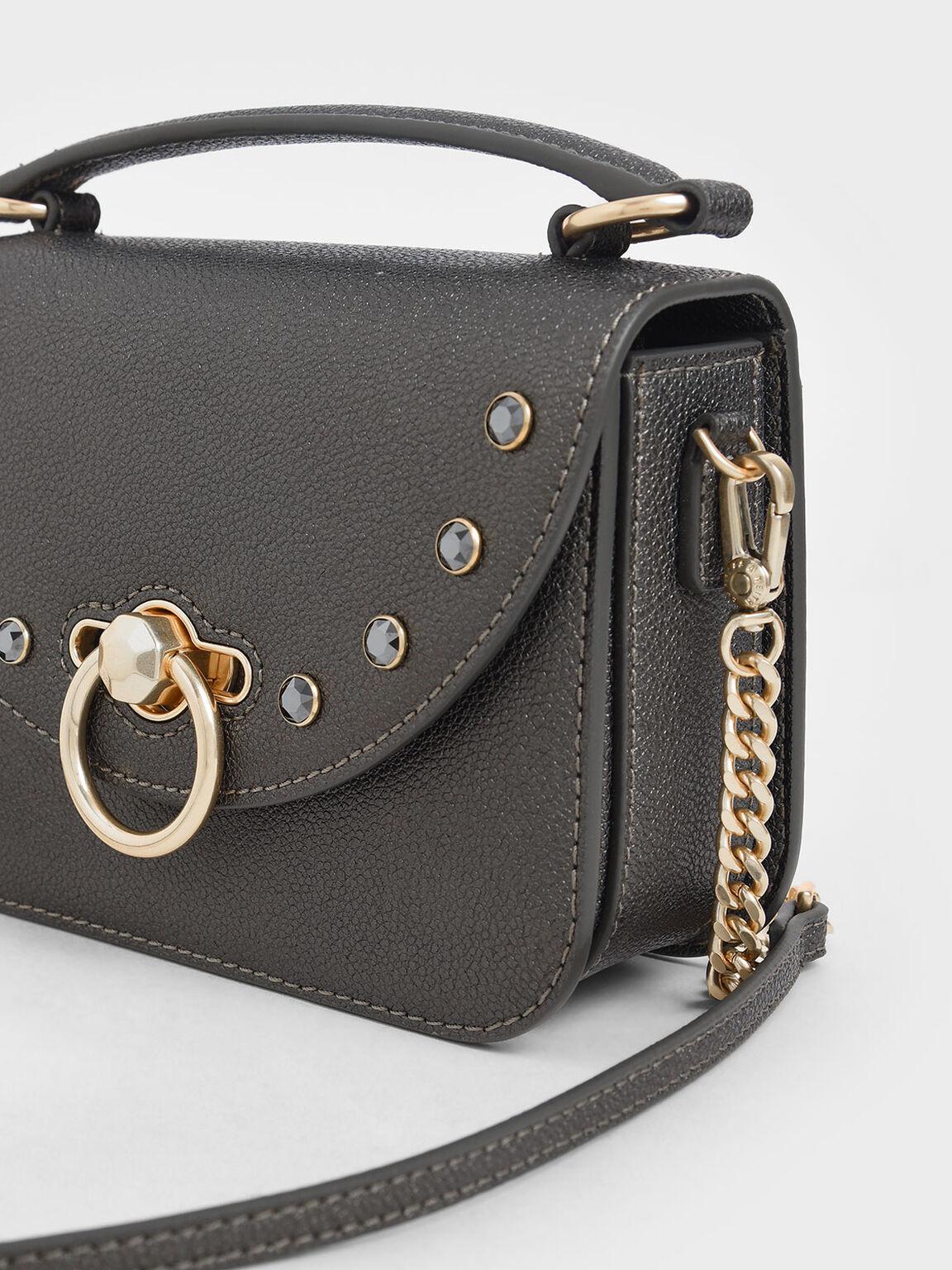 Ring Push Lock Embellished Bag, Pewter, hi-res