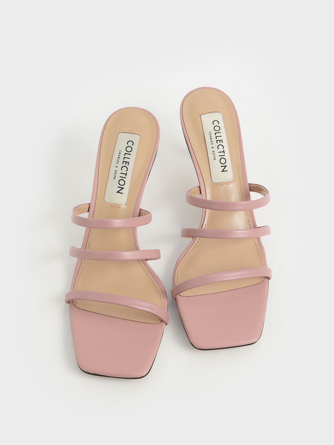 真皮細帶方頭拖鞋, 粉紅色, hi-res