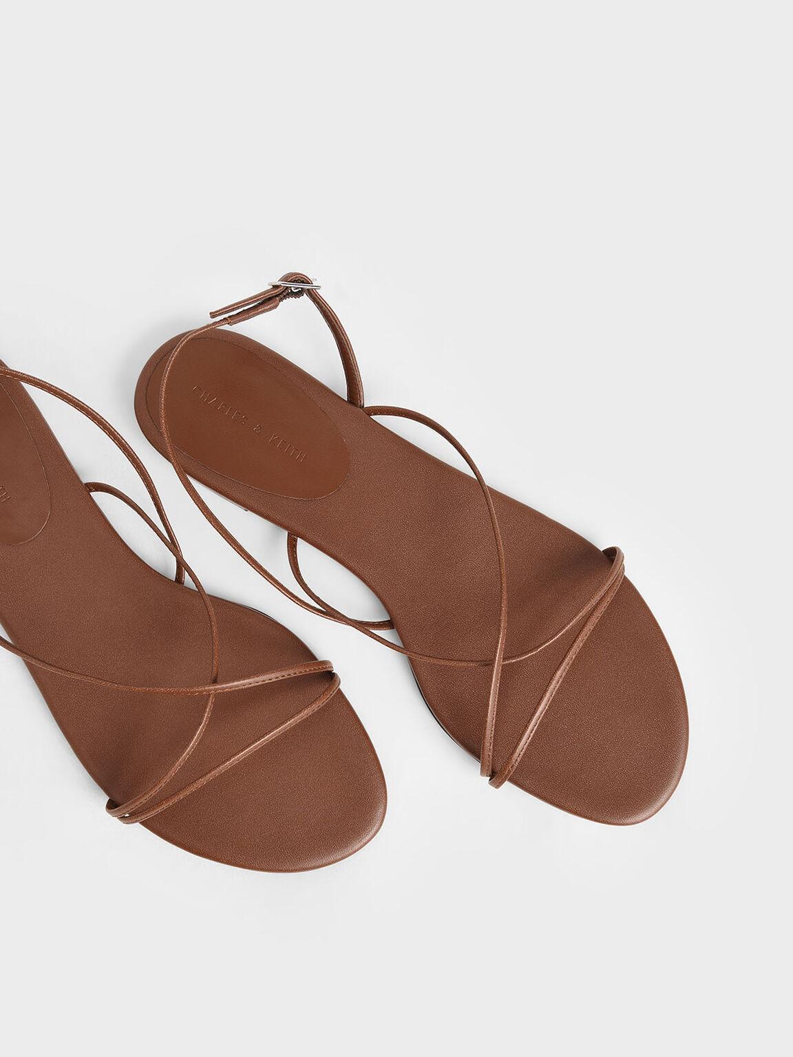交叉細帶涼鞋, 咖啡色, hi-res