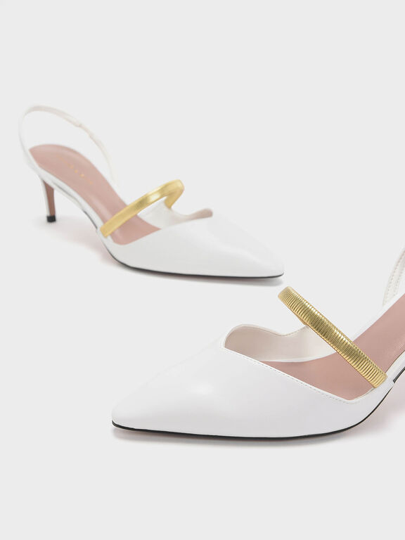 Gold Mary Jane Strap Slingback Heels, White