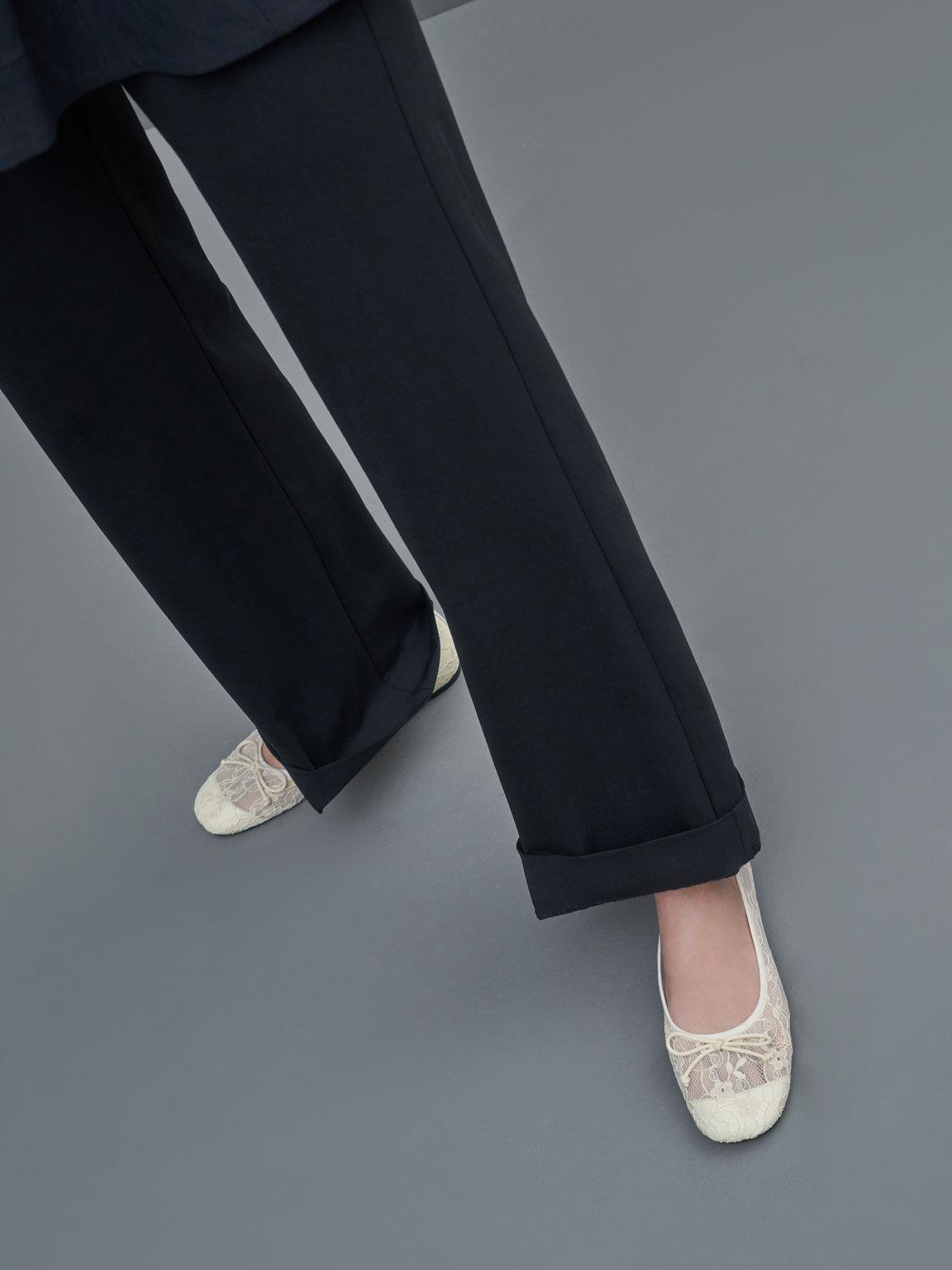 Bow-Tie Lace Ballerina Flats, Cream, hi-res