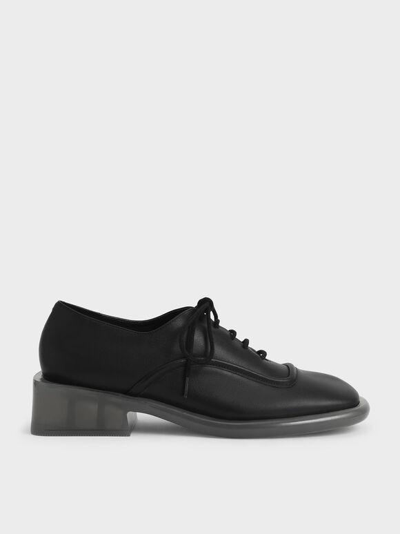 Fleur 真皮英倫厚底鞋, 黑色, hi-res