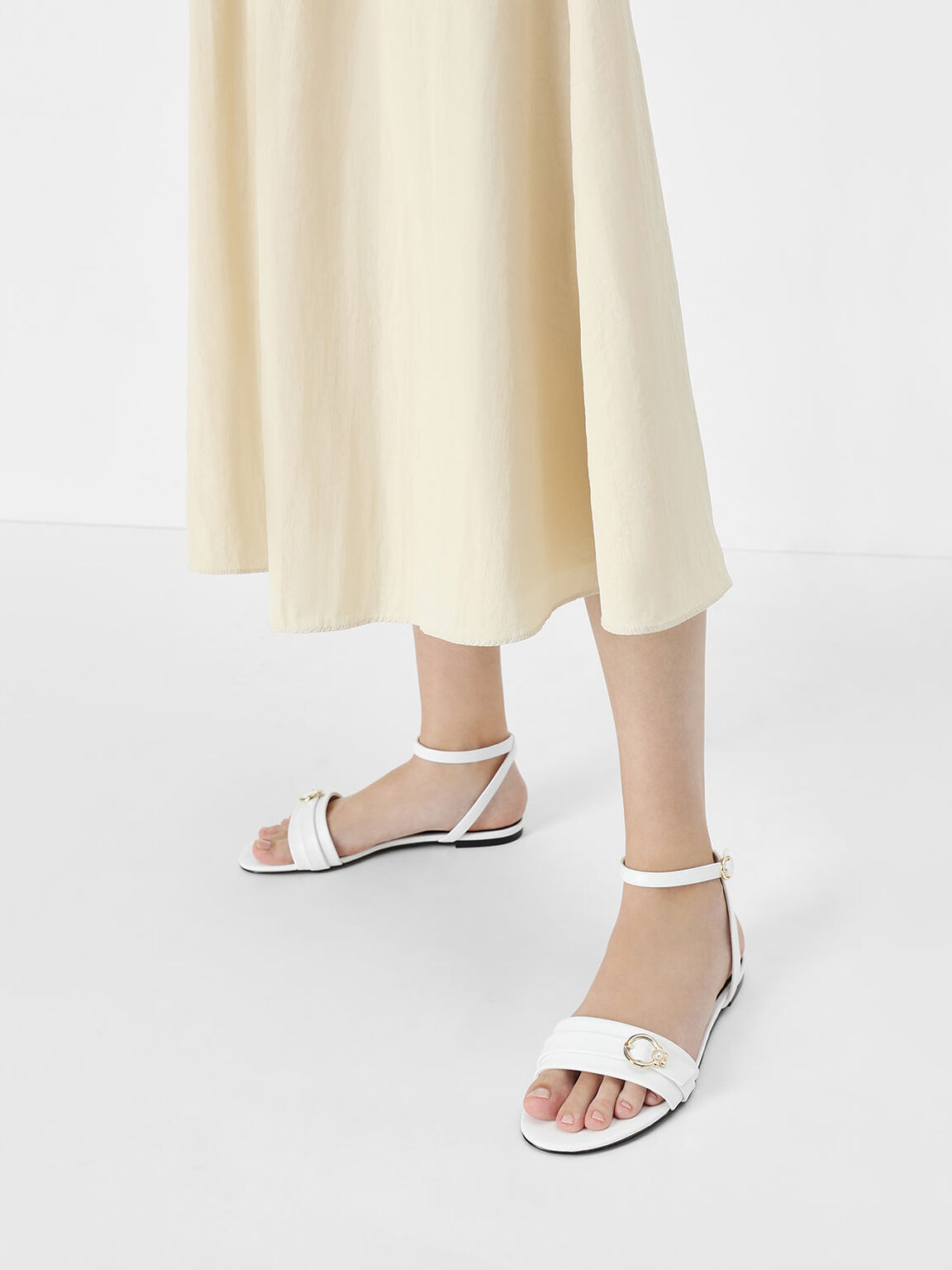 Gold Accent Ankle Strap Flats, White, hi-res