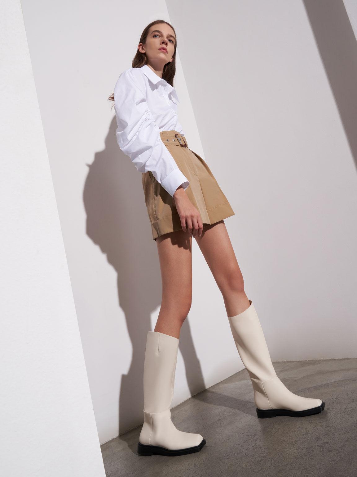 Square Toe Knee High Boots, Chalk, hi-res
