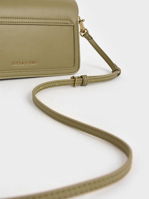 Stone-Embellished Envelope Bag, Khaki, hi-res