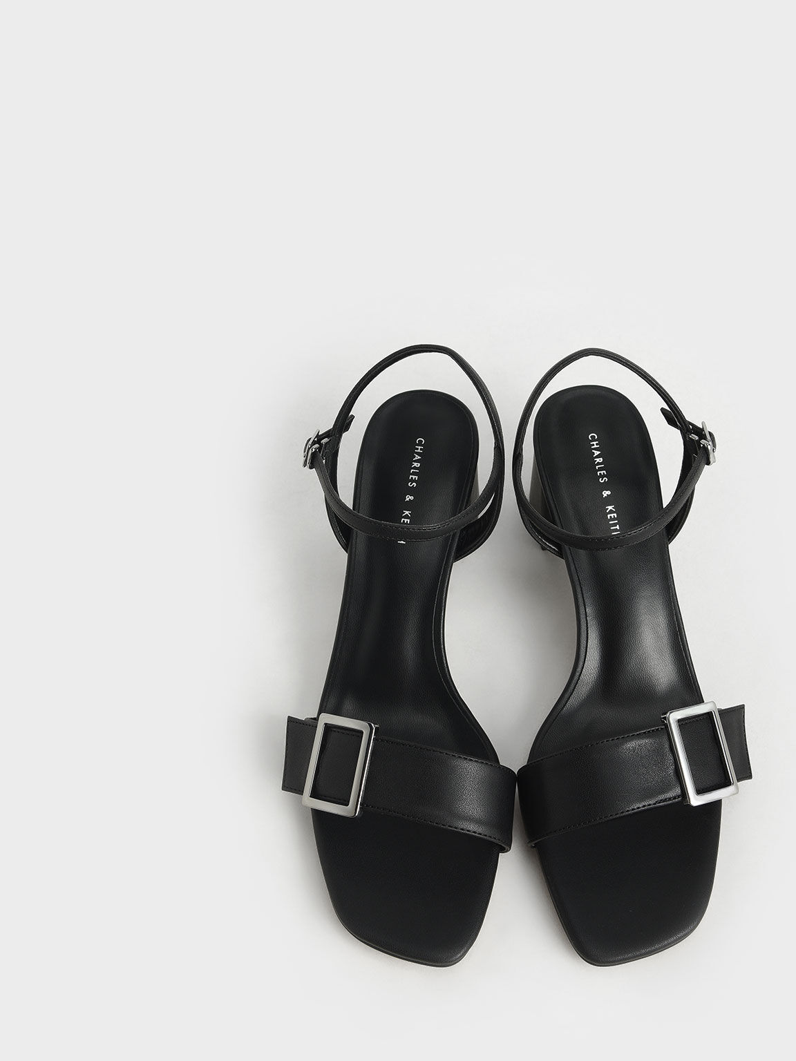 Buckle Strap Sandals, Black, hi-res