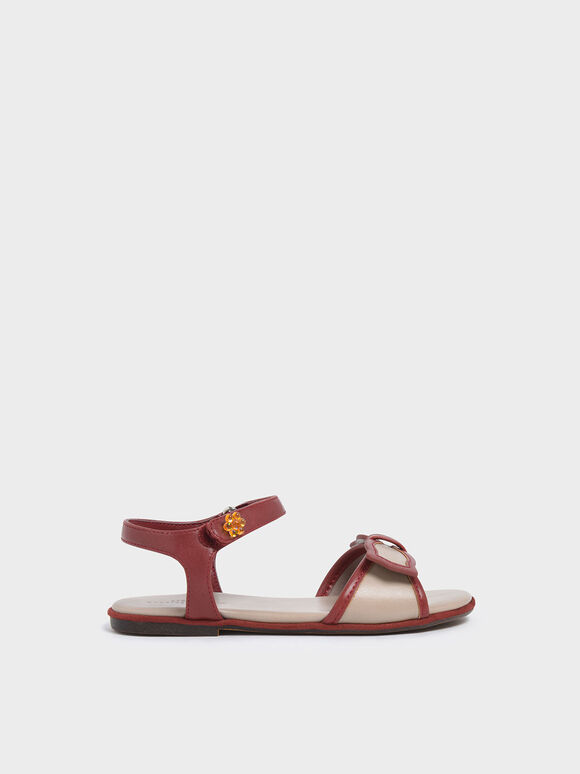 Girls' Bow Detail Open Toe Sandals, Brick, hi-res