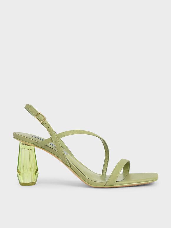 See-Through Sculptural Heel Sandals, Sage Green, hi-res