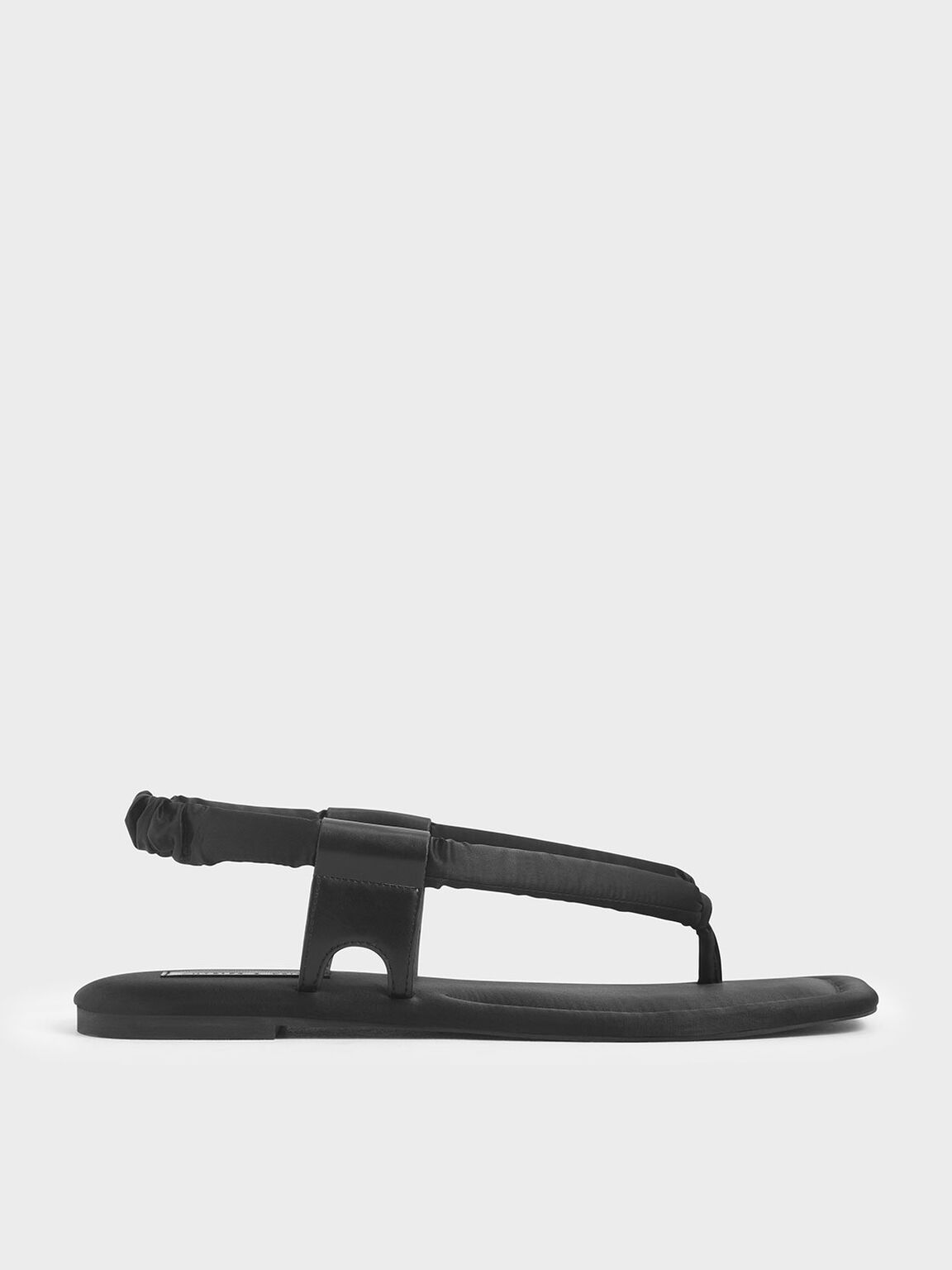 Puffy Strap Thong Sandals, Black, hi-res