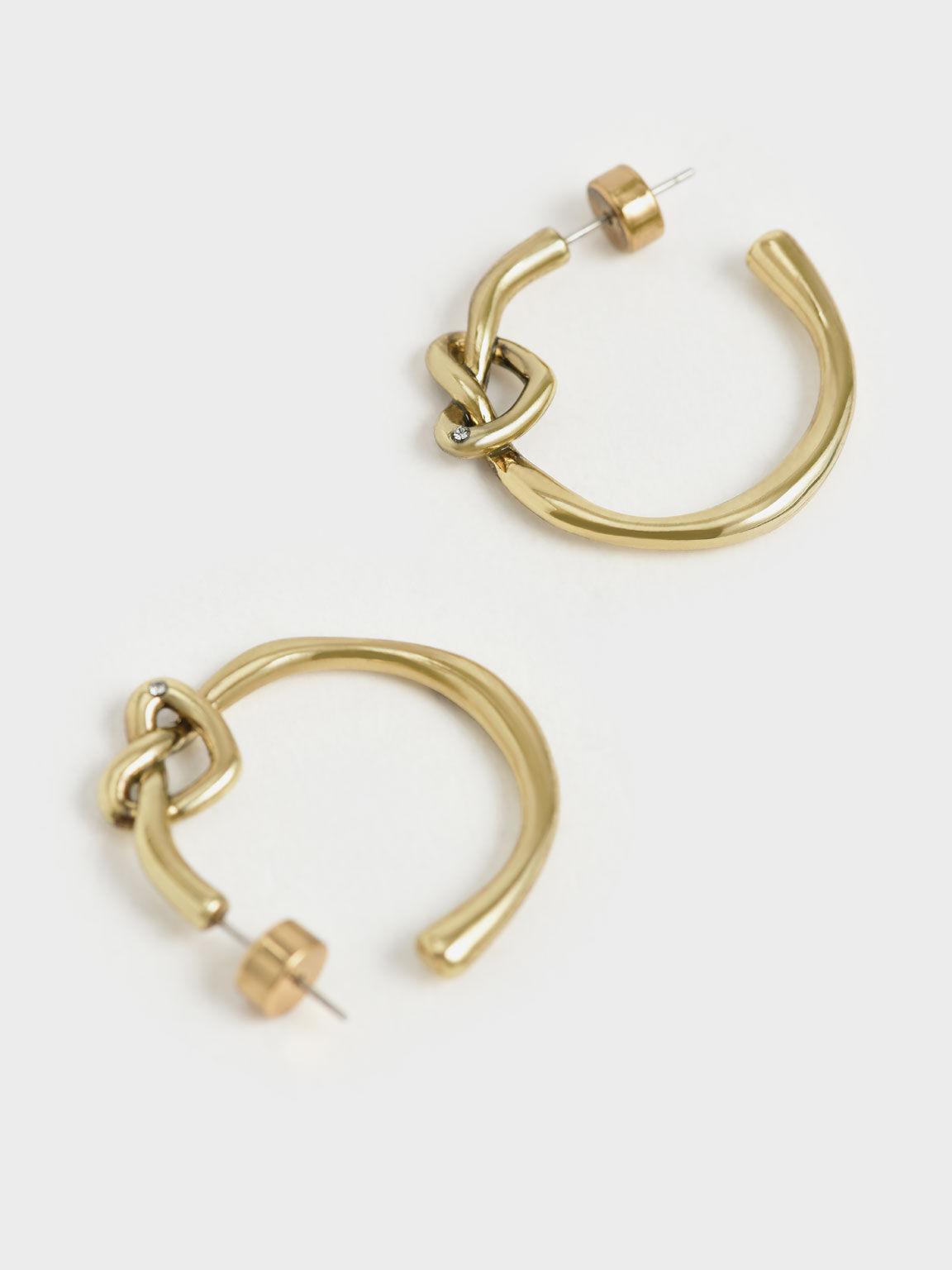 Swarovski® Crystal Embellished Heart Hoop Earrings, Gold, hi-res