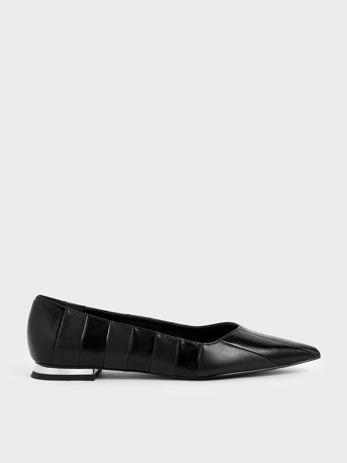 Leather Striped Ballerina Flats, Black, hi-res