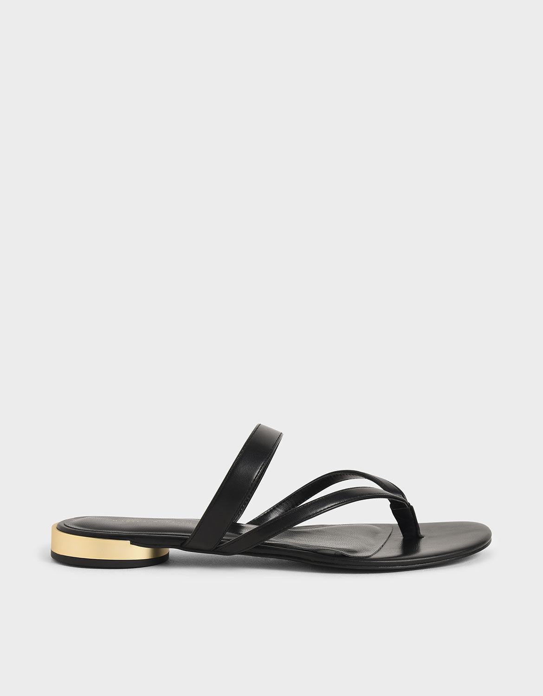 Black Open-Toe Thong Sandals | CHARLES