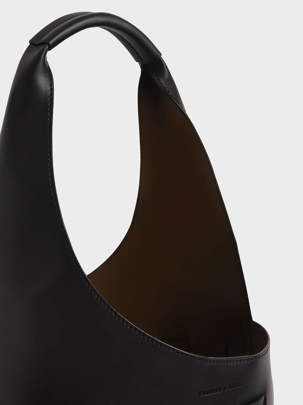 Woven Shoulder Bag, Black, hi-res