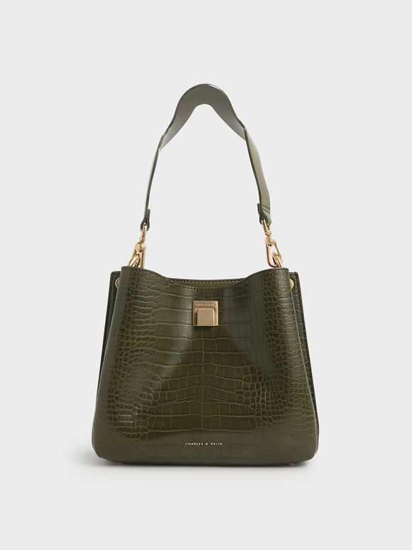 Croc-Effect Bucket Shoulder Bag, Olive, hi-res