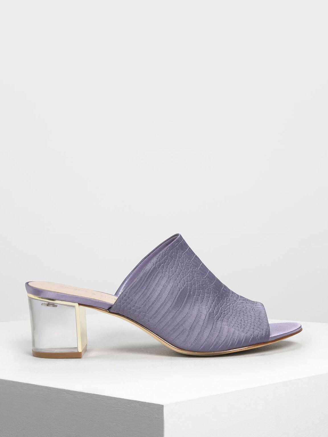 Embossed Fabric Heeled Slide Sandals, Purple, hi-res