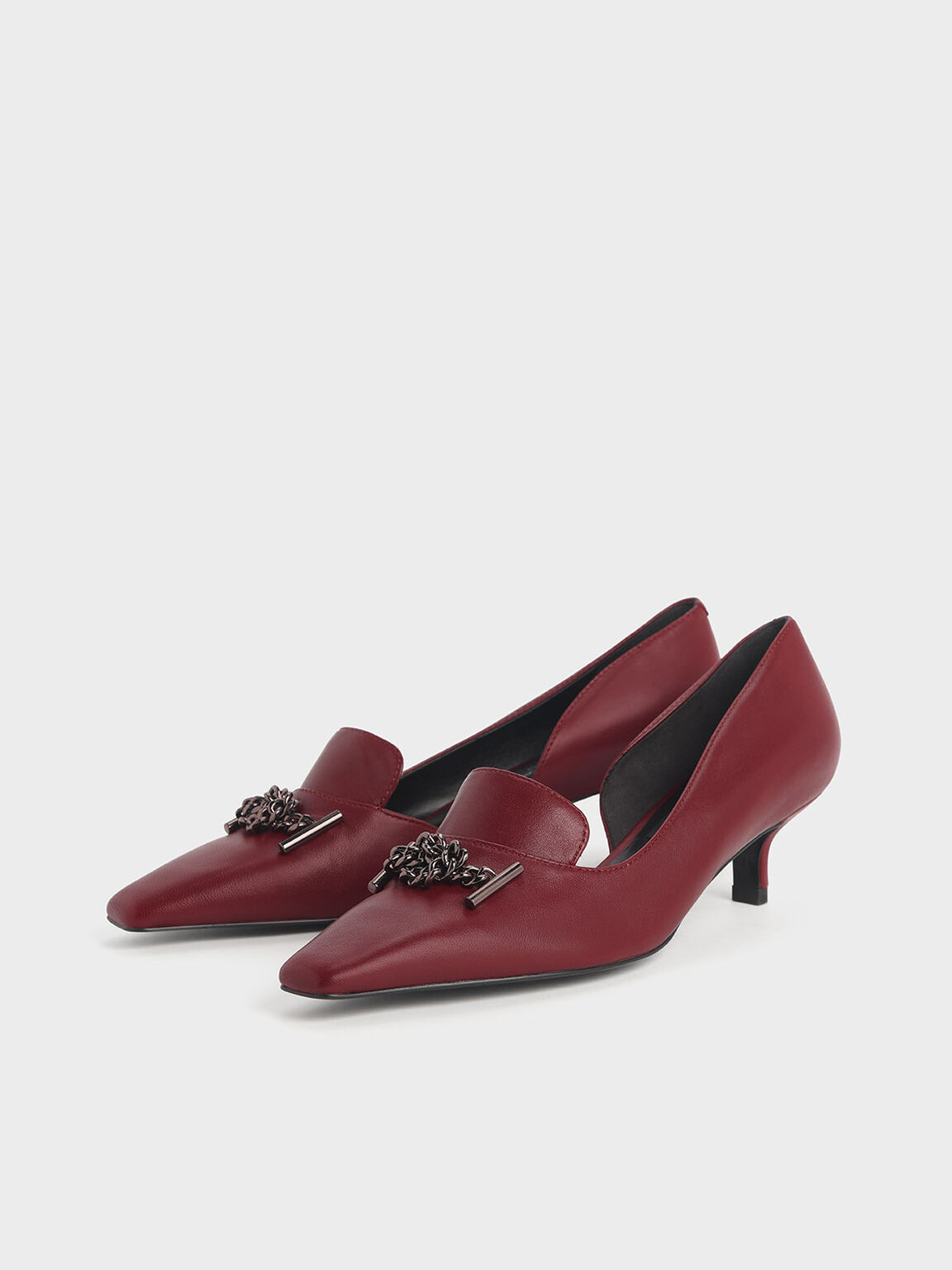 Knotted Chain Detail Leather Blade Heel D'Orsay Pumps, Red, hi-res