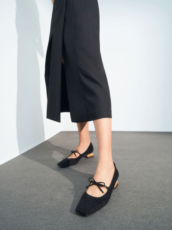 Textured Bow Tie Mary Janes, Black, hi-res