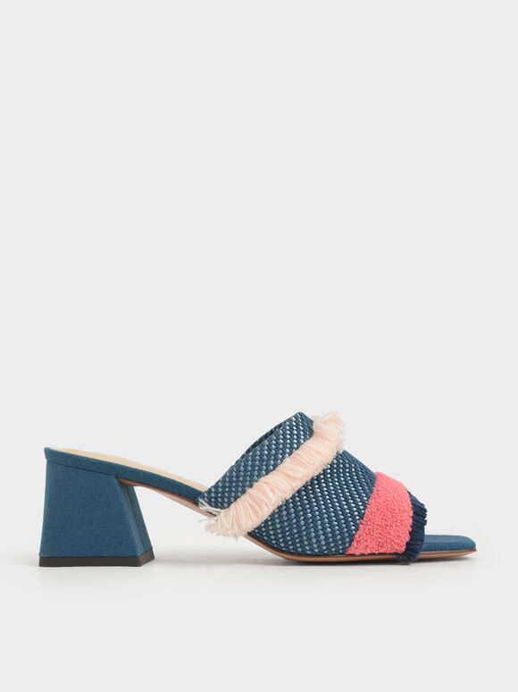 Multicoloured Woven Fabric Mules, Teal, hi-res