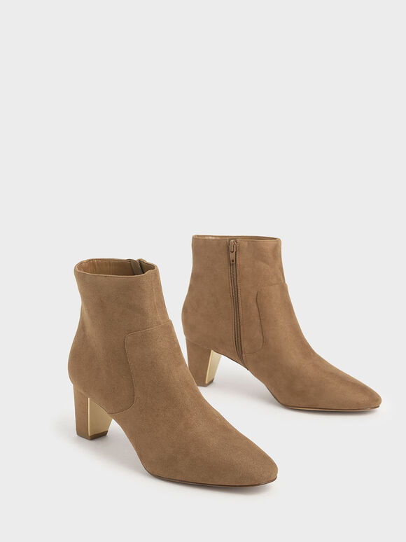 Textured Ankle Boots, Camel, hi-res