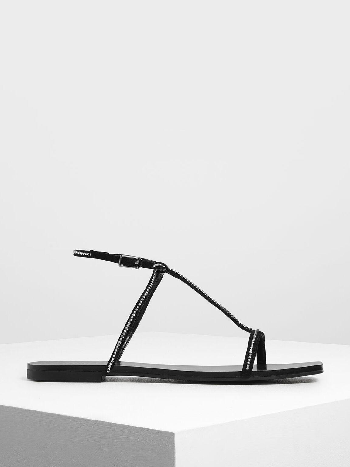Embellished T-Bar Sandals, Black, hi-res