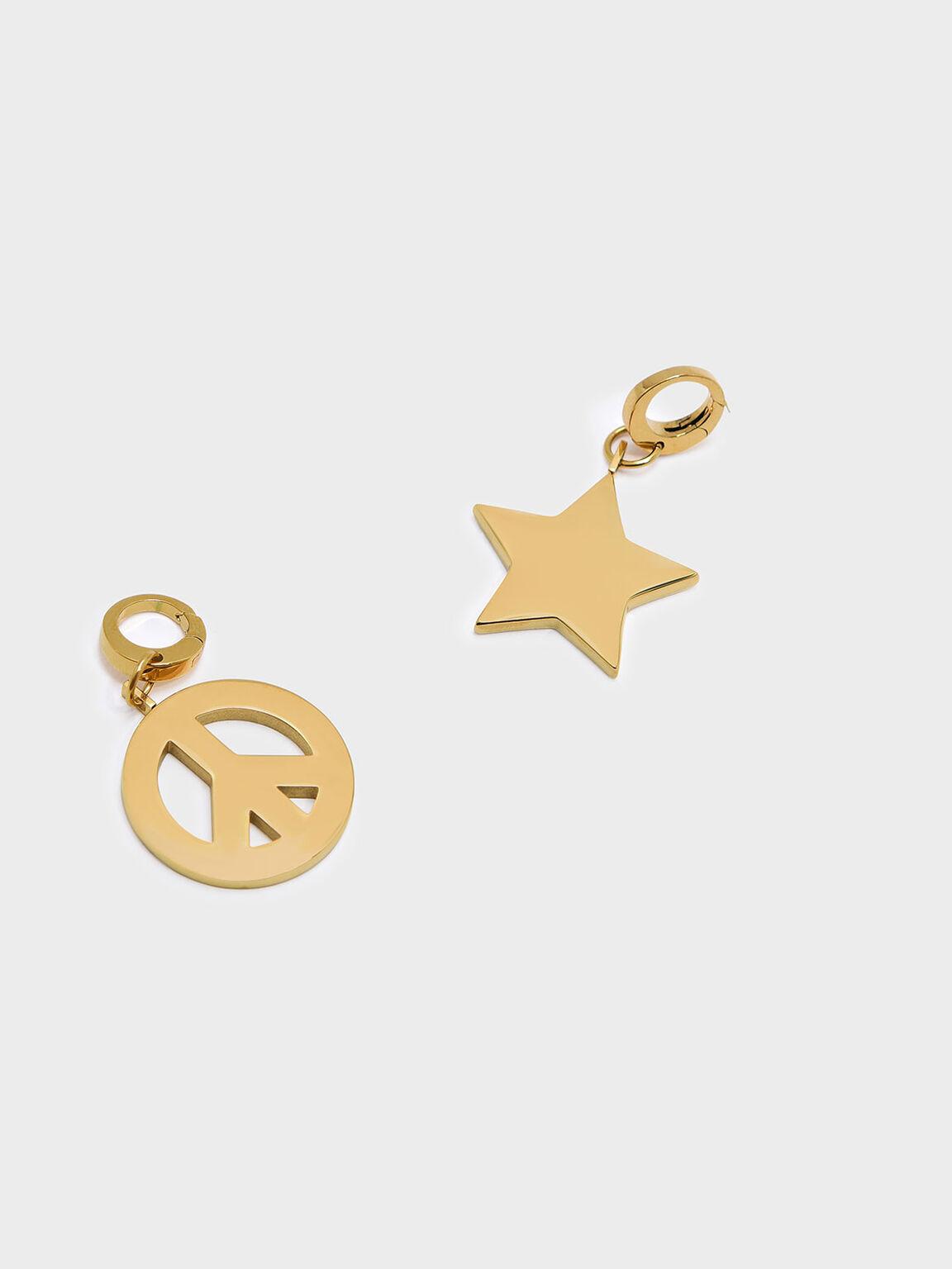 Gold Peace Symbol Keychain, Gold, hi-res