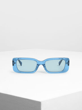 Thick Frame Rectangle Sunglasses, Blue