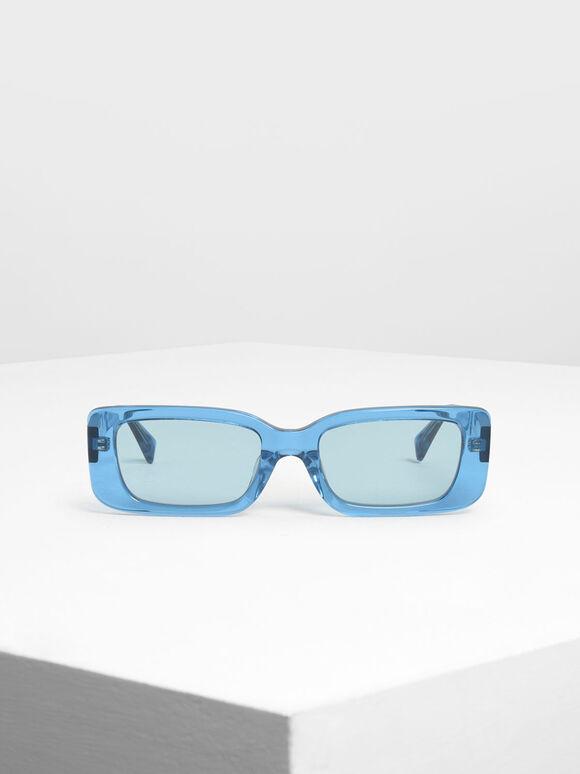 Thick Frame Rectangle Sunglasses, Blue, hi-res